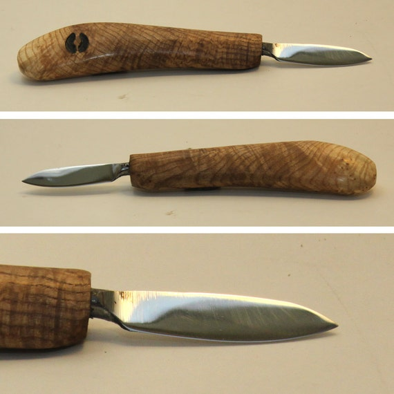 Wood carving knife hand forged figured maple