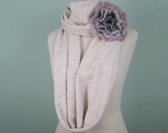 Natural white cotton jersey infinity Loop Scarf with felted flower wool brooch