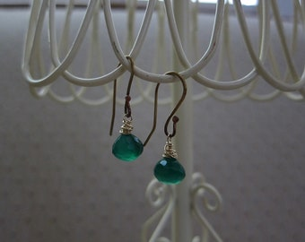 Kelly Green Chalcedony Briolette Earrings