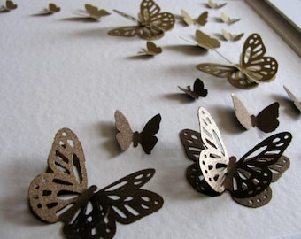 Shimmery 3D Layered Butterfly Art. Silver Anniversary or Golden Anniversary. Silver and Charcoal Gray or Gold and Copper. Made to Order