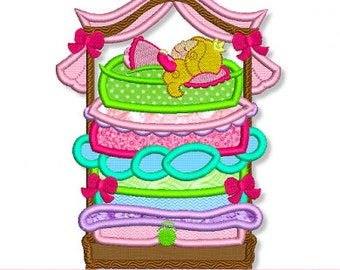 PRINCESS and the PEA Applique 4x4 5x7 6x10 Machine Embroidery Design  INSTANT Download