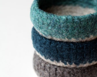 Felted Mini Bowls - set of three in turquoise blues