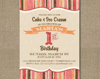 PRINTABLE Cake and Ice Cream birthday party invitation