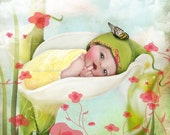 "Fine Art Print ""Baby Calla Lily"" 8.5x11 or 8x10 Medium Premium Giclee Print of Original Artwork - Cute Little Nature Fairy Sleeping Flowers"