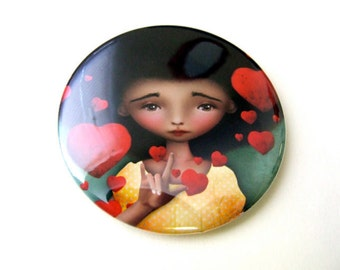"""Pocket Mirror """"Gesture"""" ASL American Sign Language Symbol for ' I Love You' 2 1/4"""" Round Compact Mirror - African American Girl"""