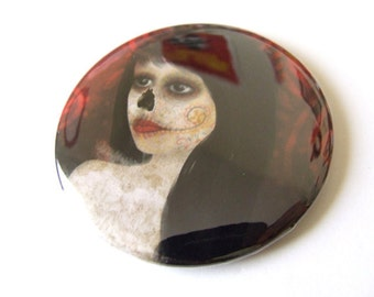 "Pocket Mirror ""Dia de Los Muertos"" Day of the Dead Woman Art Illustrated Small Real Mirror - 2 1/4"" Round"
