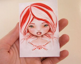 "Candy Cane Girl - ""Peppermint"" -  ACEO/ATC Artist Trading Card Mini Print 2.5x3.5 by Artist Jessica Grundy"
