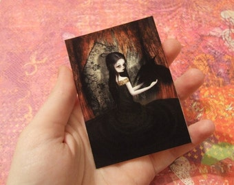 "ACEO/ATC Mini Fine Art Print ""Lenore"" Artist Trading Card 2.5x3.5 - Lowbrow Artwork Edgar Allen Poe The Raven Woman Dark Gothic Lolita"