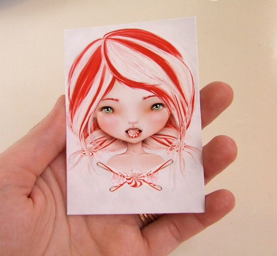 """Candy Cane Girl - """"Peppermint"""" -  ACEO/ATC Artist Trading Card Mini Print 2.5x3.5 by Artist Jessica Grundy"""