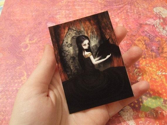 "ACEO/ATC Mini Fine Art Print ""Lenore"" Artist Trading Card 2.5x3.5 - Lowbrow Artwork Edgar Allen Poe The Raven Woman Dark Gothic Lolita"