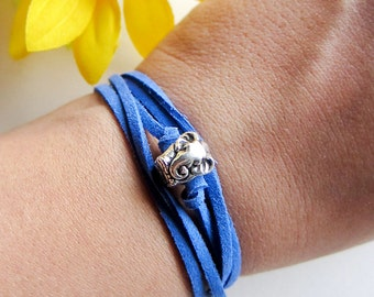 silver elephant charm with suede leather cord - pick your color - arm candy - friendship bracelet - leather wrap bracelet - boho jewelry