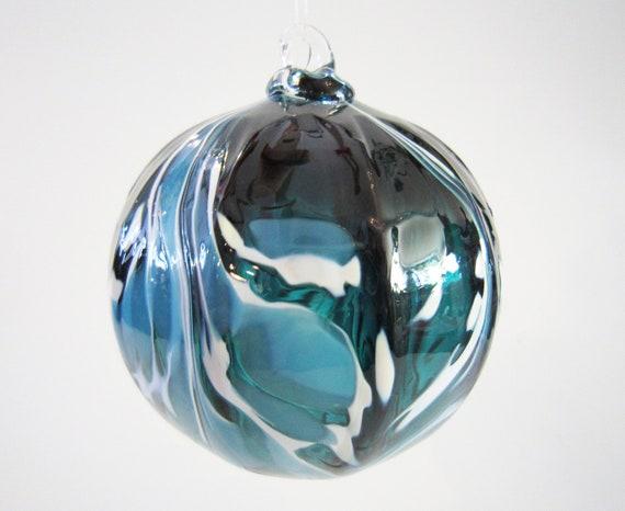 Glass Ornament -  teal, aqua and white