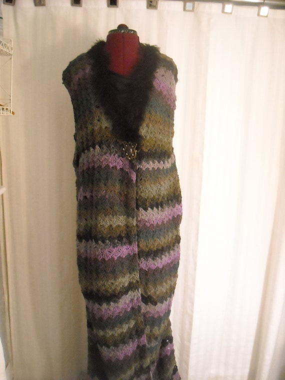Large Long Vest: Mosaic Purple/Black