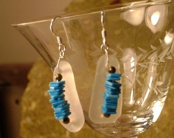 White sea glass and turquoise trail earrings
