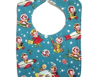 Bib, Rocket Rascals Reversible Bib, snap closure, lined bib, boy bib