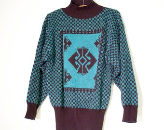 Metallic Knit 80s Sweater Black and Aqua Geometric Slouchy