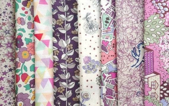 Liberty of london -  tana lawn cotton - limited edition print - purple plus set of 8
