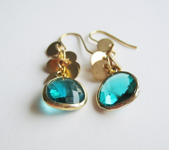 Framed Stone and Coin Dangles. Aqua.
