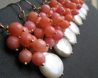 Maid of honor gift, pink coral earrings, spring bridesmaid jewelry coin pearl earrings, weddings