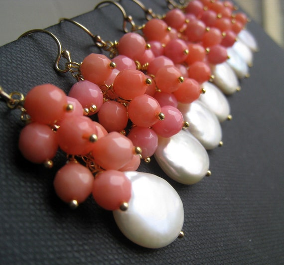 set of 5 Bridesmaid earrings, pink coral earrings, coin pearl earrings, bridesmaid jewelry, dangle, spring weddings