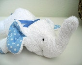 Elephant  Plush - Stuffed Animal - White terry cloth with blue polka dots accents