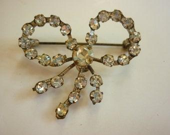 Deco Rhinestone Bow Pin / Brooch 1930s