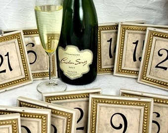 5 Framed Table Numbers 3x3 inch in Shabby White and Gold Boules for Weddings and Events