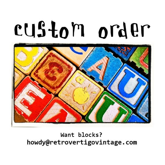 Vintage Blocks - Boy's Birthday Party - Blues & Reds - Playful - Retro Toys - Fun - Shabby - CUSTOM ORDER for Linette Rodríguez