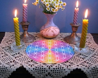 Flower of Life Ascended Masters Altar Cloth Mandala      Crystal Grid