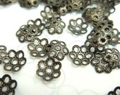 K114BS / 6 Gm ( approx 140 Pc ) Dia. 6 mm - Antique Brass Plated Color Filigree Bead Caps / Capping Findings