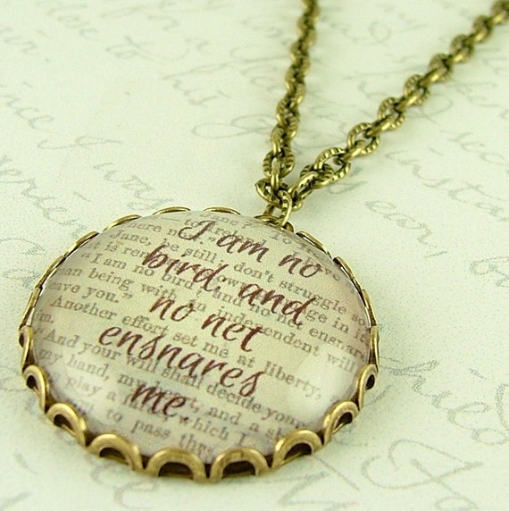 Jane Eyre Quote Glass Necklace - I Am No Bird - Charlotte Bronte Literary Book Gift