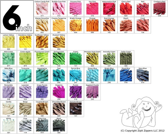 YKK Zippers 6 Inch (10) Pieces Choose your own colors red orange yellow green blue purple pink brown black white