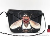 Vintage leather bag 'Industrious Insect', hand-painted