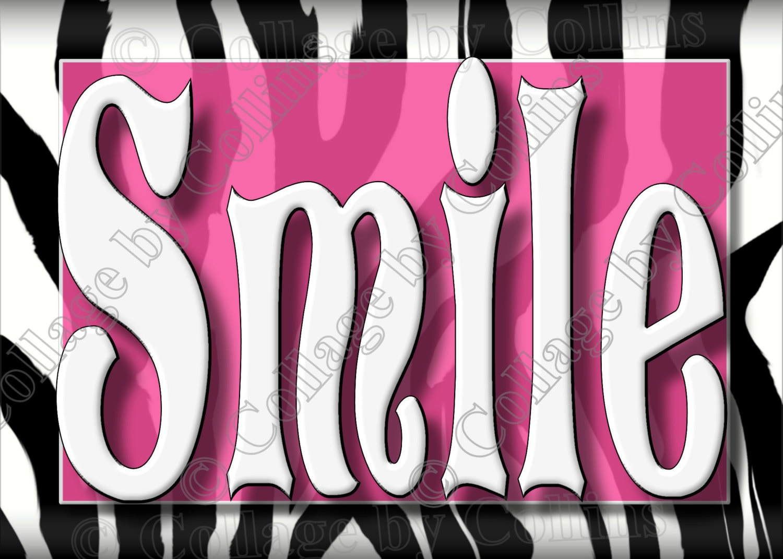 Pink Zebra Wall Decor : Zebra print wall art decor pink smile dream live laugh love
