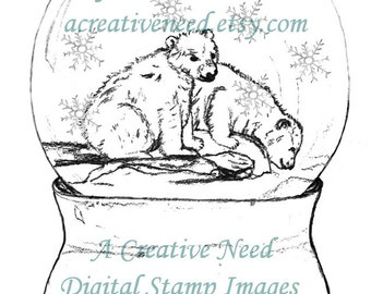 INSTANT Download Digital Stamp image, SNOWGLOBE with POLAR Bears, Holiday Image, Christmas Image.
