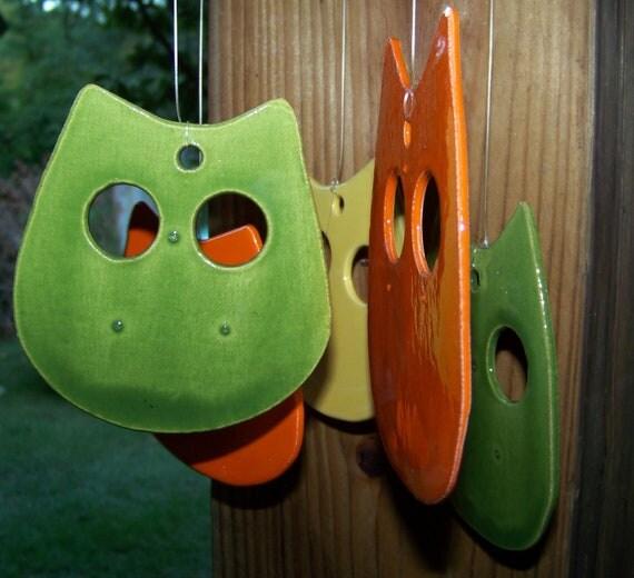 Mid Century Cool Ceramic Owl Wind Chimes