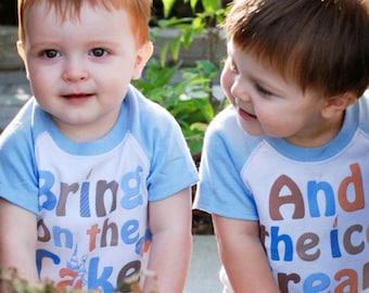 Twin Boys Birthday Shirts  Blue Raglan Sleeve Romper by Mumsy Goose 1st Birthday Rompers