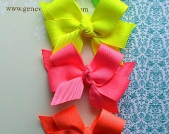 Neon Brights Set of 4 Classic Diva Bows
