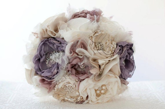 Items Similar To Fabric Flower Wedding Bouquet Bridal Brooch Bouquet Purple Bouquet