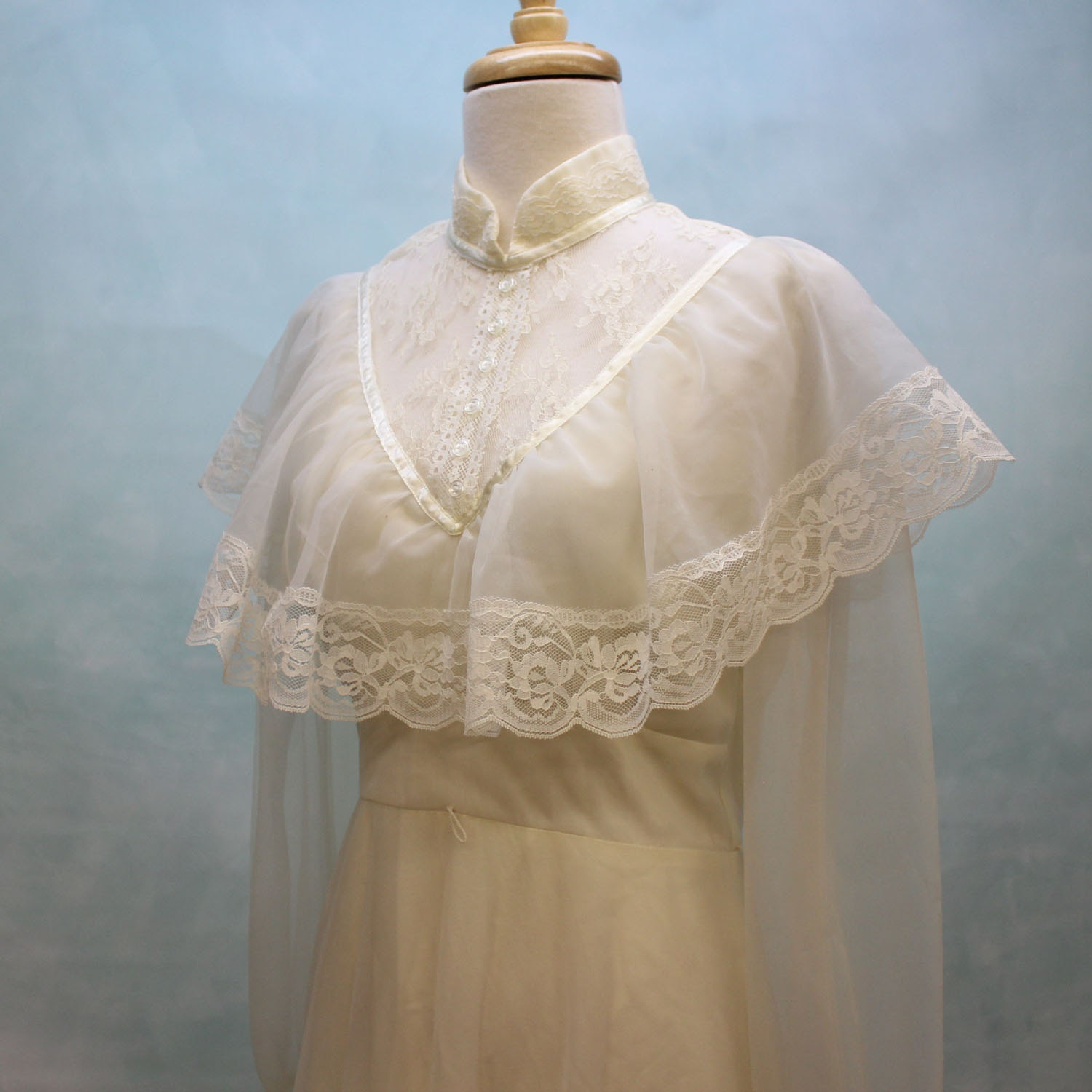 70s Romantic Victorian Prairie Style Wedding Gown With