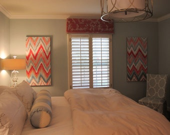 Custom ikat chevron PAIR 24x36 Painting by Jennifer Moreman