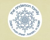 Return address labels, stickers, tags, envelope seals, round-- snowflake 1