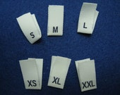 100pcs Damask Woven Size Labels ( White background with Navy letter ) Free Shipping
