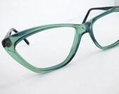 Vintage Transparent Mint Green French Eighties SONIA RYKIEL Cat Eye Glasses Retro Eyewear