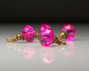 Vintage Style Bead Dangles Bright Pink Glass Set of Four PK187