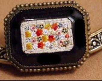 Vintage Micromosaic BROOCH UNUSUAL BLACK victorian jewelry