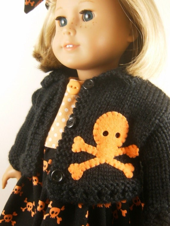 18 Inch Doll Clothes American Girl Black Hand Knitted Sweater and Sleeveless Dress Halloween Matching Hair Bow