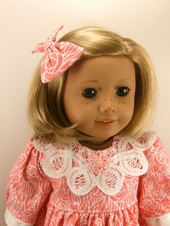 18 Inch Doll Clothes American Girl Doll Clothes Dress Long Sleeved Battenburg Collar and Matching Hair Bow