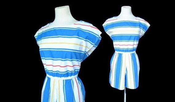 SALE Romper / striped jumpsuit oneie / vintage Large