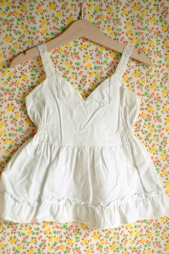Vintage 1950's Toddler Girl Slip - White (18m)